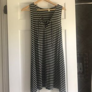dark green and white striped dress